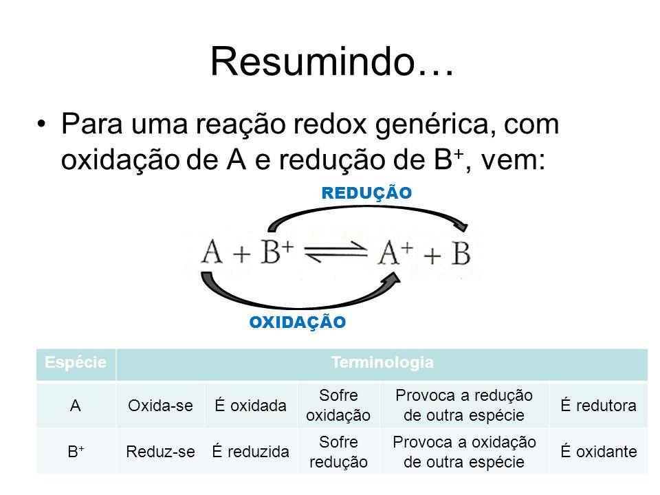 Resumindo… Para uma reação redox genérica, com oxidação de A e redução de B+, vem: REDUÇÃO. OXIDAÇÃO.