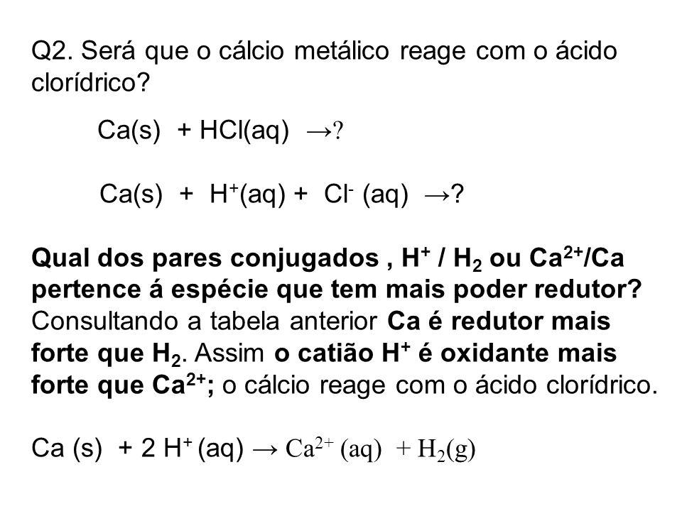 Q2. Será que o cálcio metálico reage com o ácido clorídrico