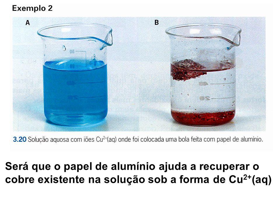 Será que o papel de alumínio ajuda a recuperar o cobre existente na solução sob a forma de Cu2+(aq)