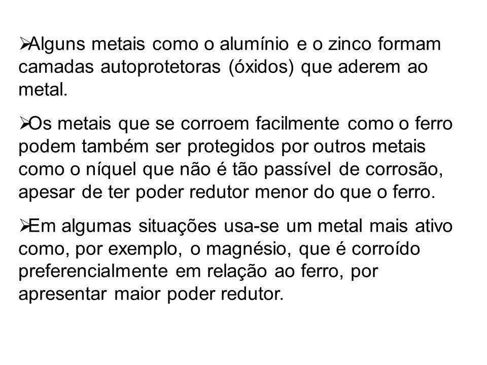 Alguns metais como o alumínio e o zinco formam camadas autoprotetoras (óxidos) que aderem ao metal.