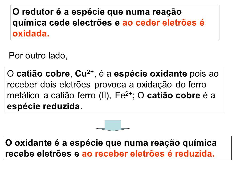 O redutor é a espécie que numa reação química cede electrões e ao ceder eletrões é oxidada.