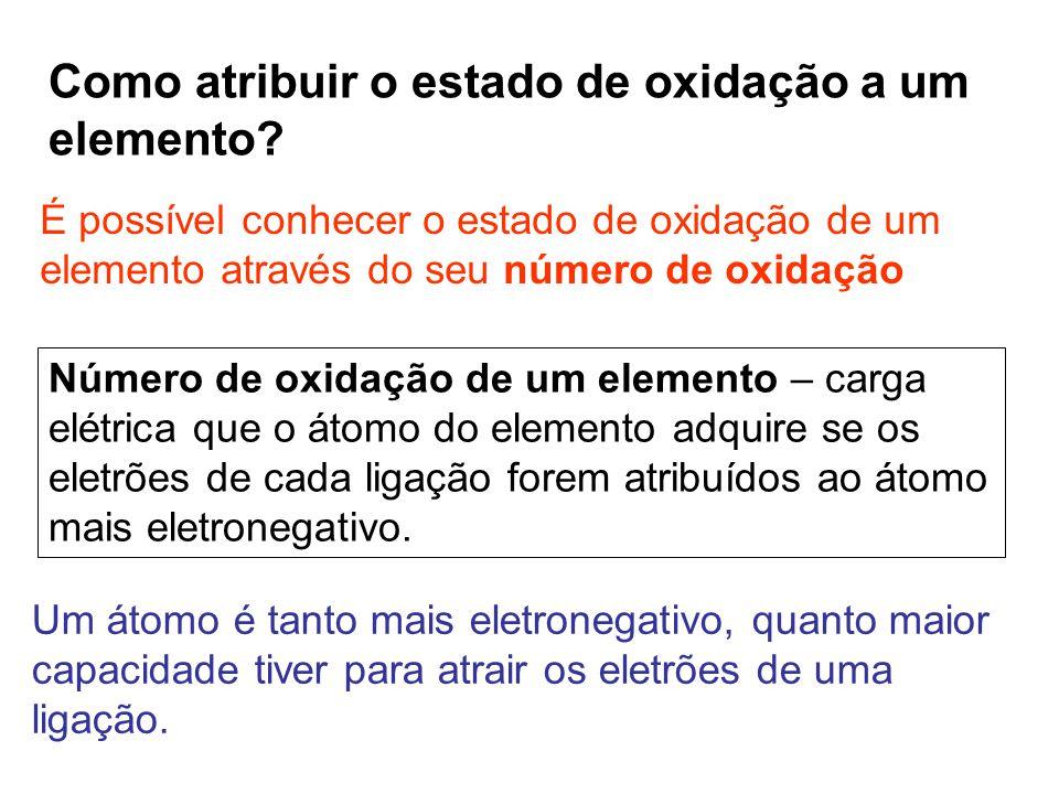 Como atribuir o estado de oxidação a um elemento