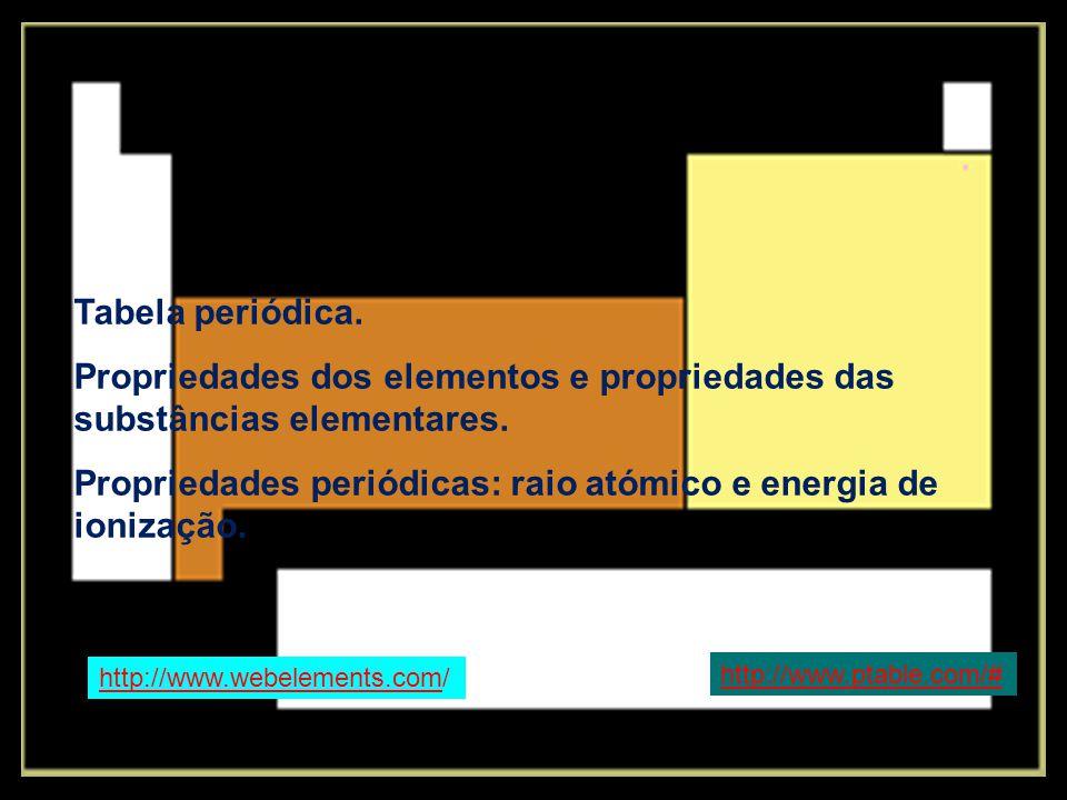Propriedades dos elementos e propriedades das substâncias elementares.