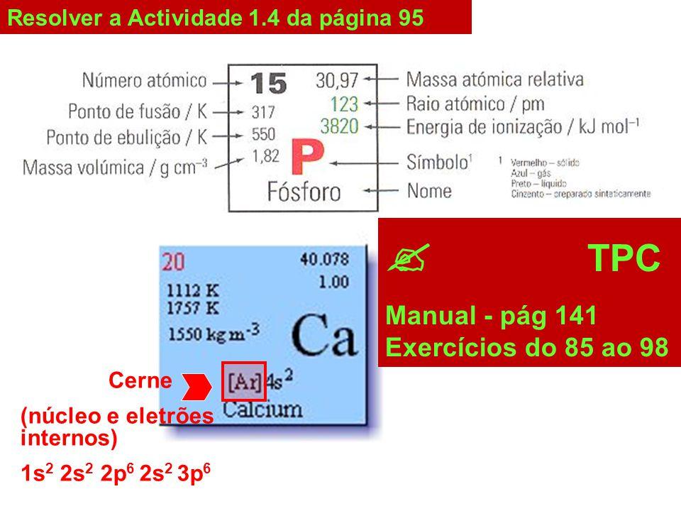  TPC Manual - pág 141 Exercícios do 85 ao 98