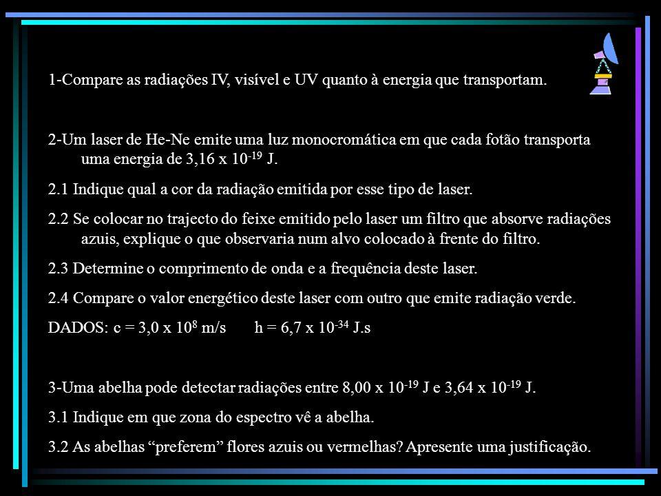 1-Compare as radiações IV, visível e UV quanto à energia que transportam.