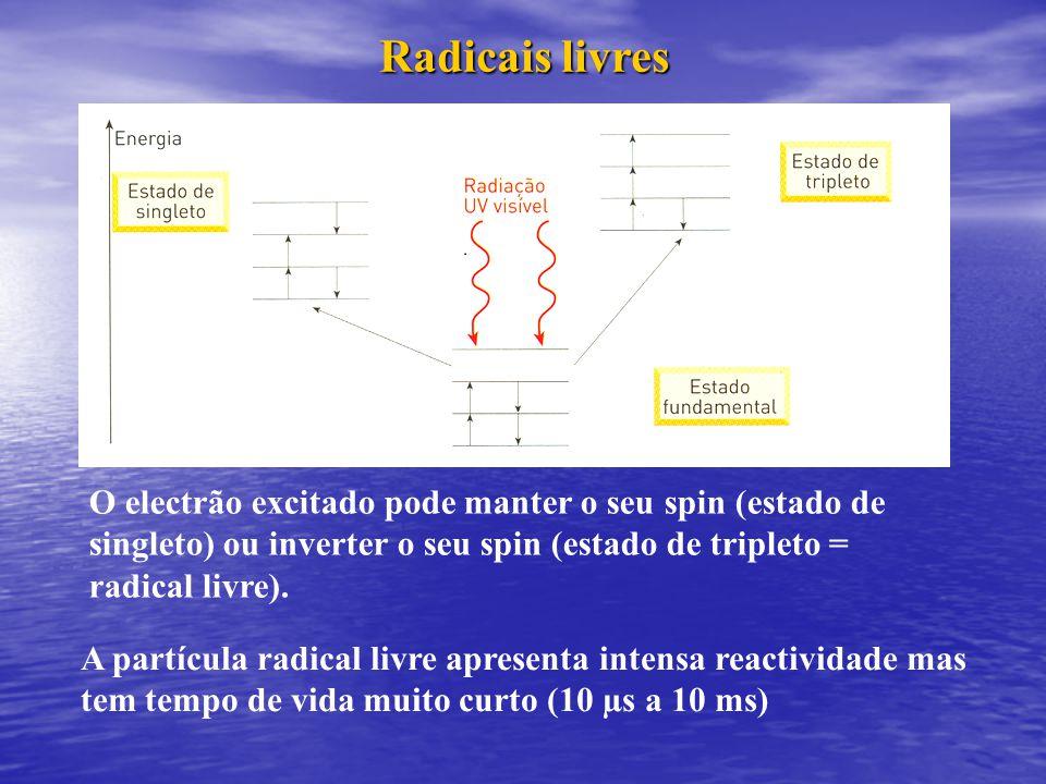 Radicais livres O electrão excitado pode manter o seu spin (estado de singleto) ou inverter o seu spin (estado de tripleto = radical livre).