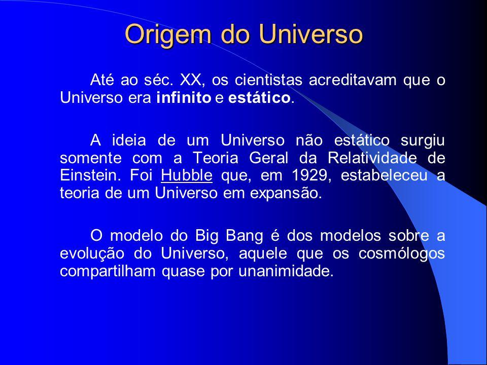 Origem do Universo Até ao séc. XX, os cientistas acreditavam que o Universo era infinito e estático.