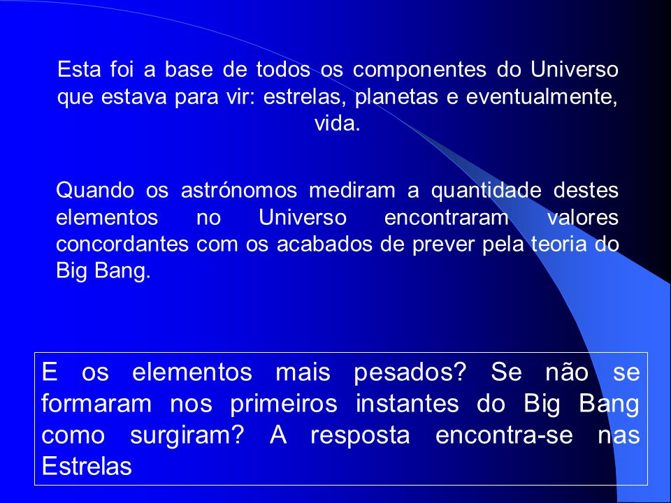 Esta foi a base de todos os componentes do Universo que estava para vir: estrelas, planetas e eventualmente, vida.