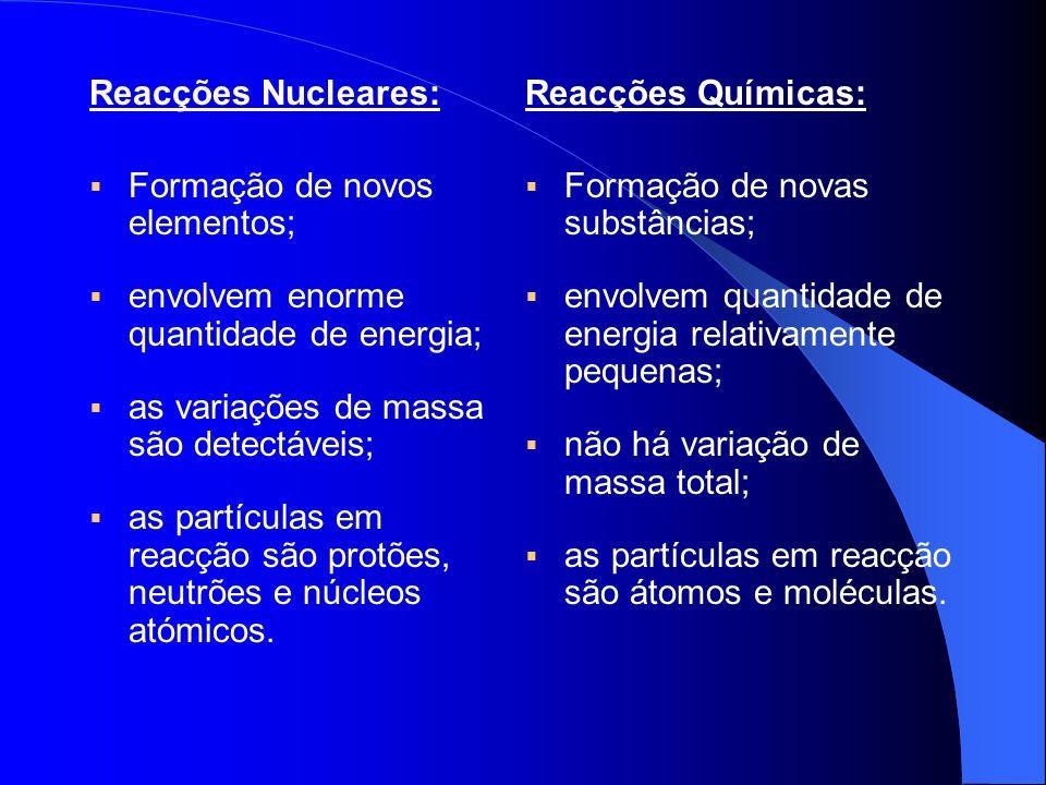 Reacções Nucleares: Formação de novos elementos; envolvem enorme quantidade de energia; as variações de massa são detectáveis;