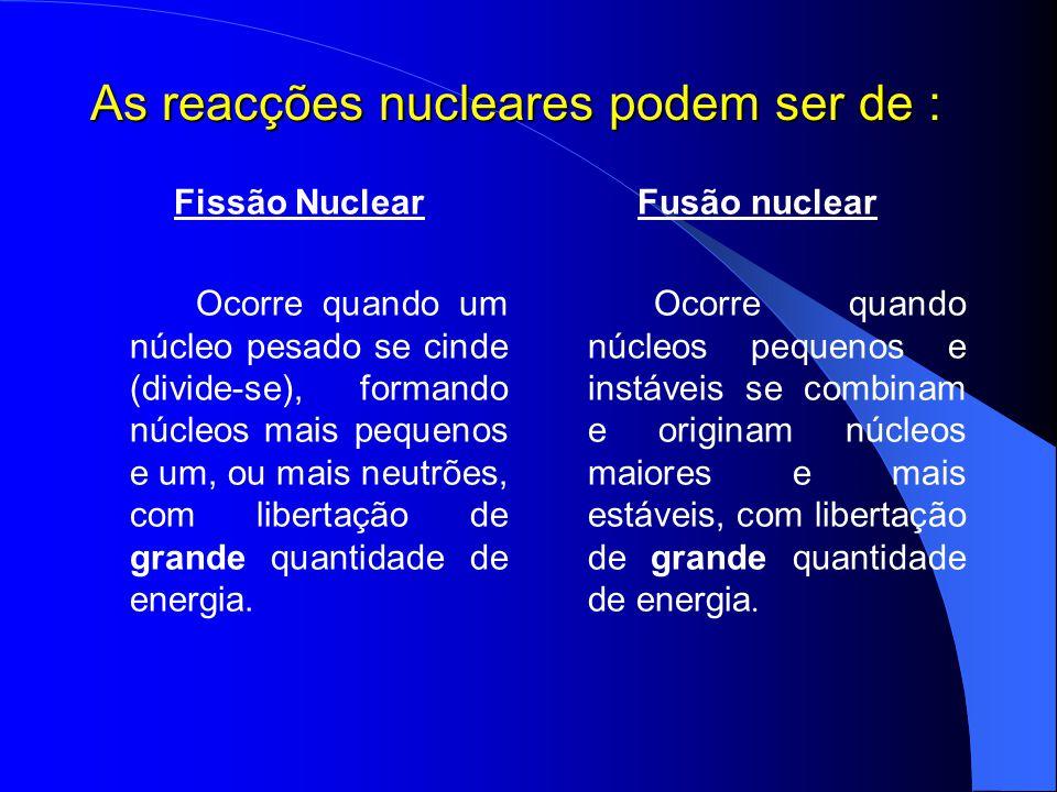 As reacções nucleares podem ser de :
