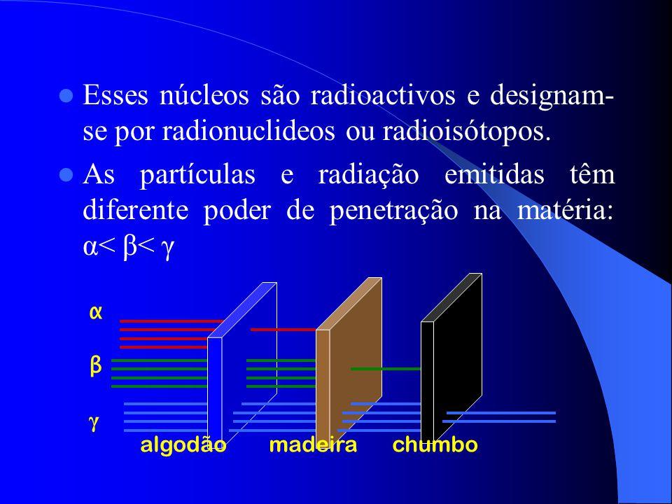 Esses núcleos são radioactivos e designam-se por radionuclideos ou radioisótopos.
