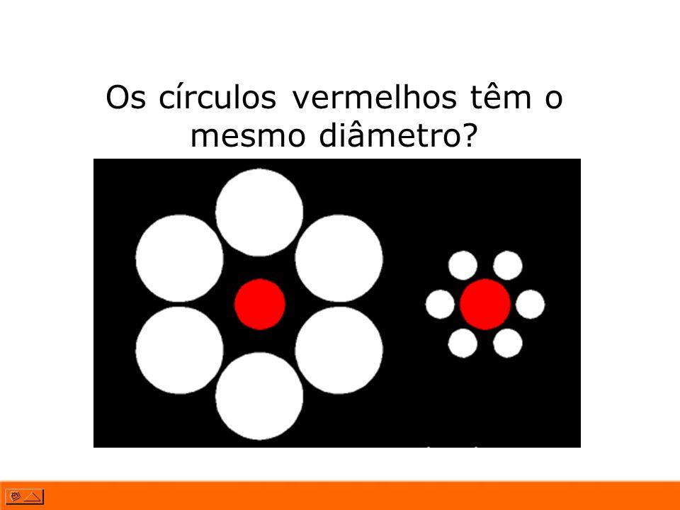 Os círculos vermelhos têm o mesmo diâmetro