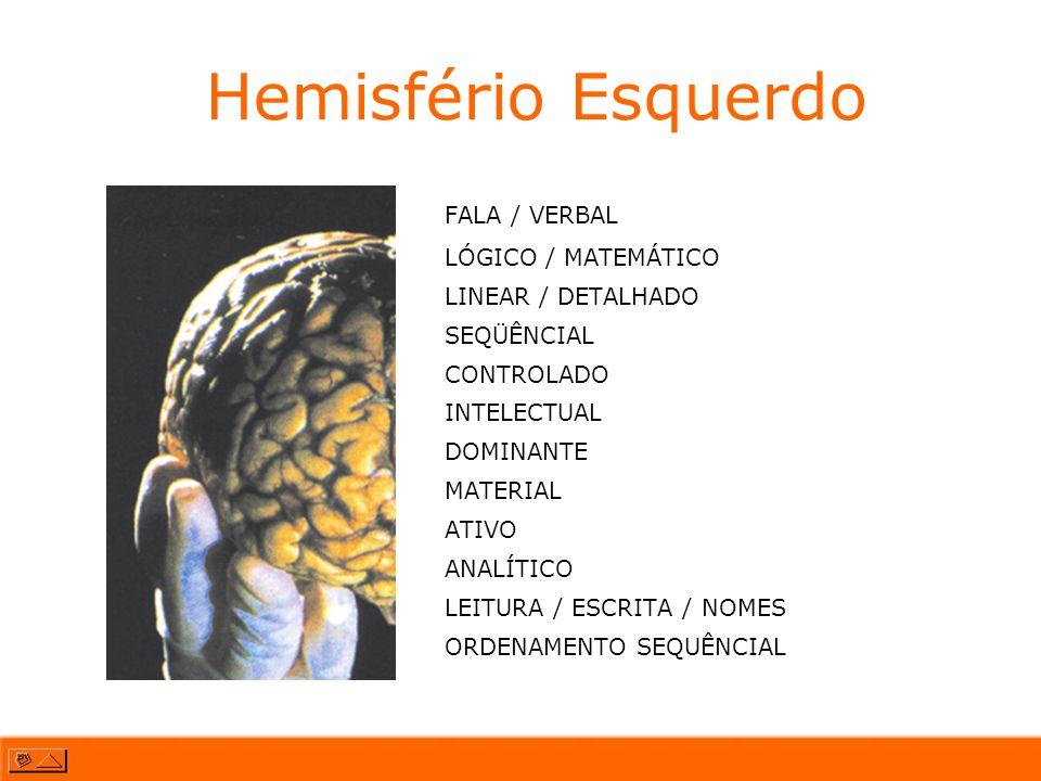 Hemisfério Esquerdo FALA / VERBAL LÓGICO / MATEMÁTICO