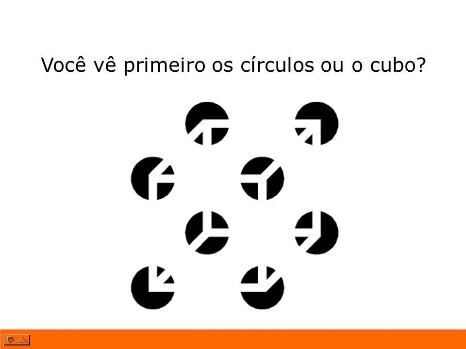 Você vê primeiro os círculos ou o cubo