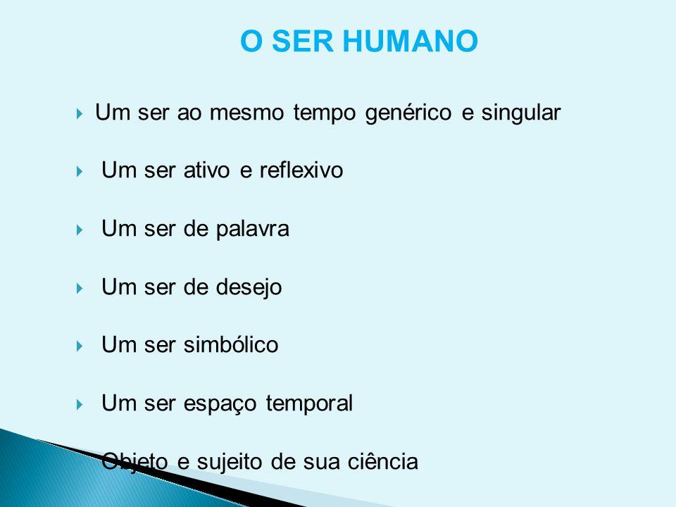 O SER HUMANO Um ser ao mesmo tempo genérico e singular