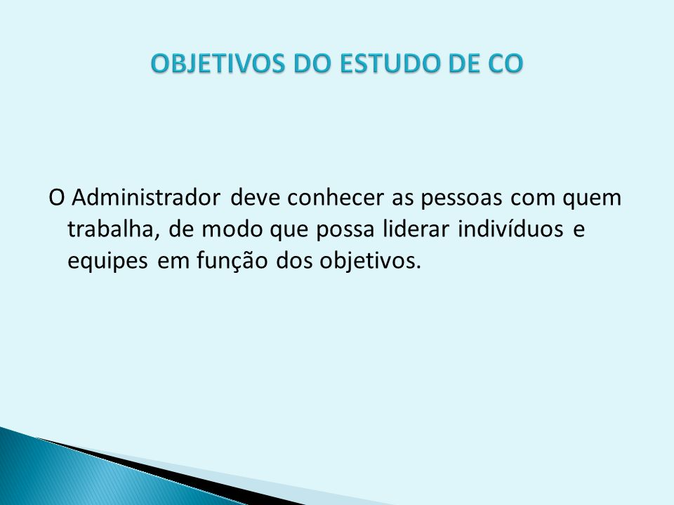 OBJETIVOS DO ESTUDO DE CO