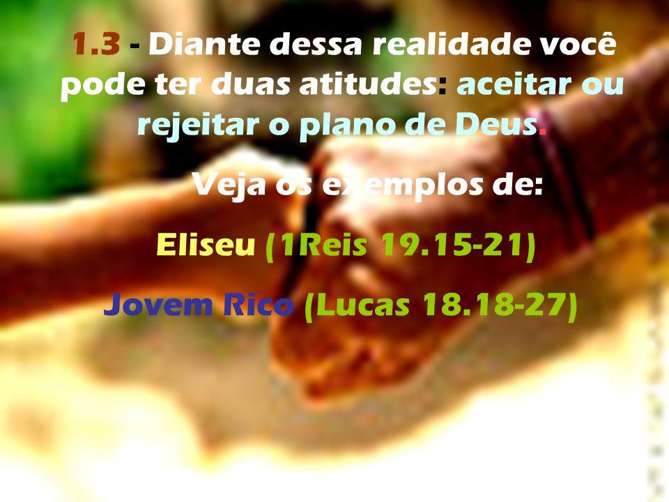 1.3 - Diante dessa realidade você pode ter duas atitudes: aceitar ou rejeitar o plano de Deus.