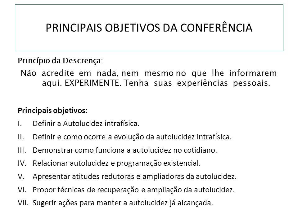 PRINCIPAIS OBJETIVOS DA CONFERÊNCIA
