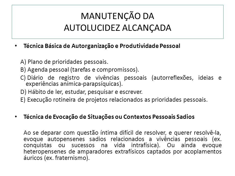 MANUTENÇÃO DA AUTOLUCIDEZ ALCANÇADA