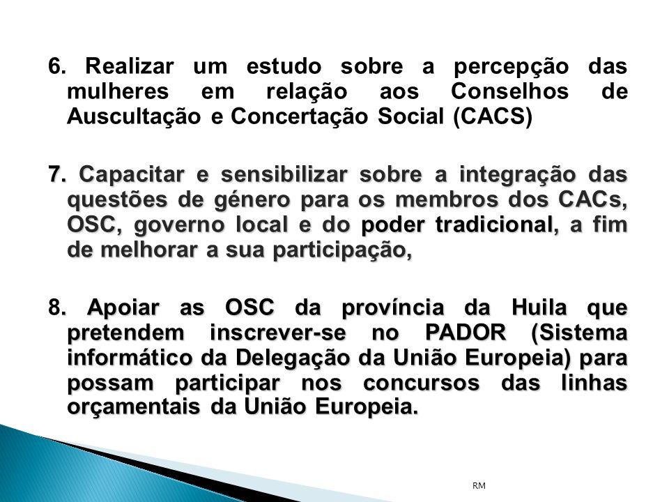 6. Realizar um estudo sobre a percepção das mulheres em relação aos Conselhos de Auscultação e Concertação Social (CACS)