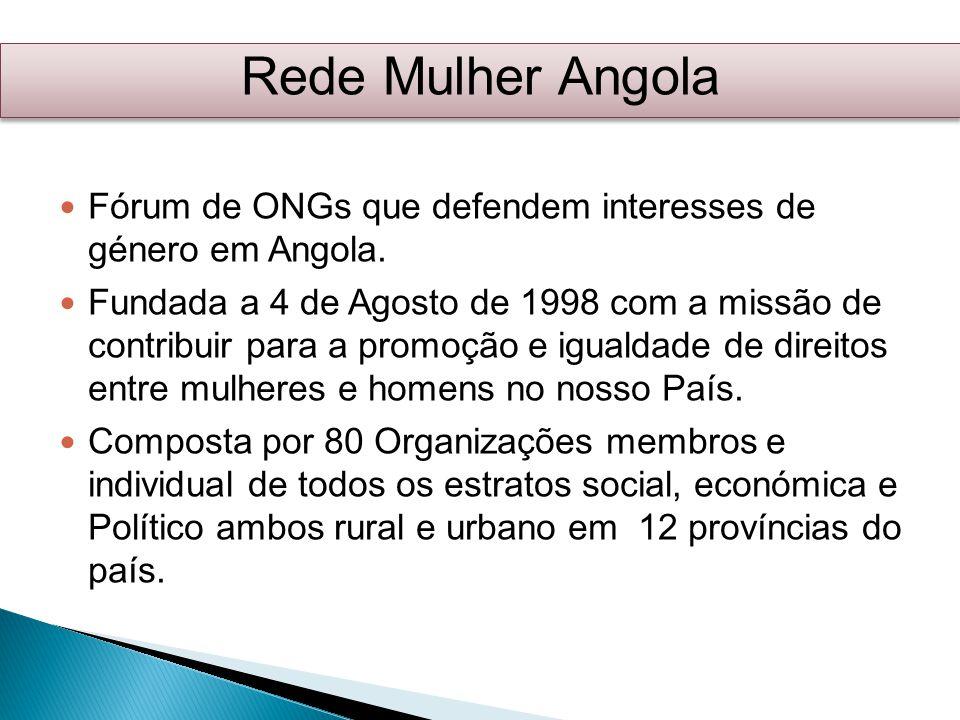 Rede Mulher Angola Fórum de ONGs que defendem interesses de género em Angola.