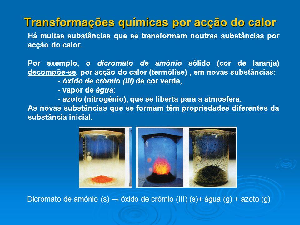 Transformações químicas por acção do calor