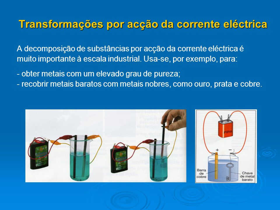 Transformações por acção da corrente eléctrica