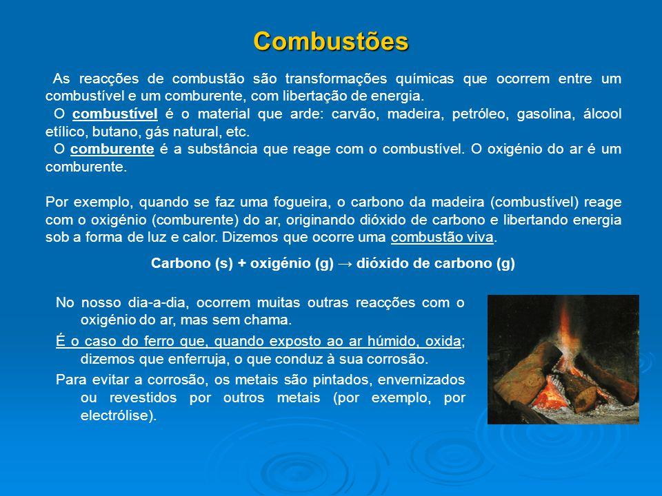 Carbono (s) + oxigénio (g) → dióxido de carbono (g)