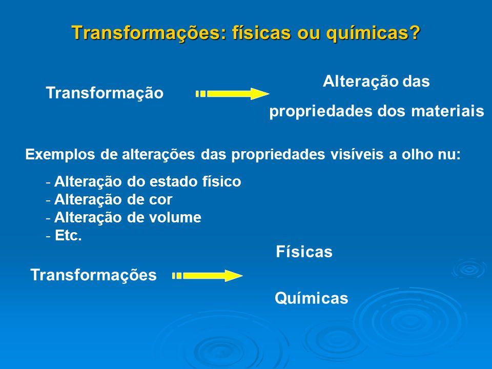 Transformações: físicas ou químicas