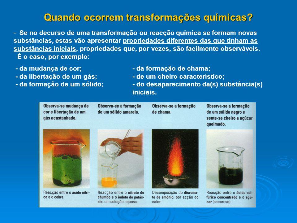 Quando ocorrem transformações químicas