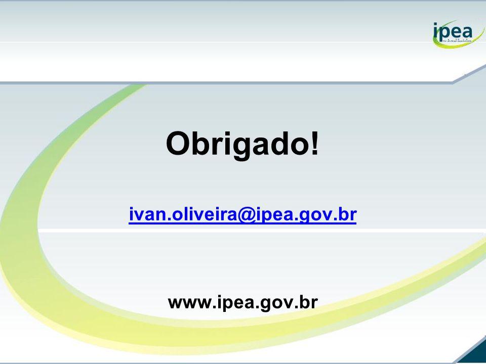 Obrigado! ivan.oliveira@ipea.gov.br www.ipea.gov.br