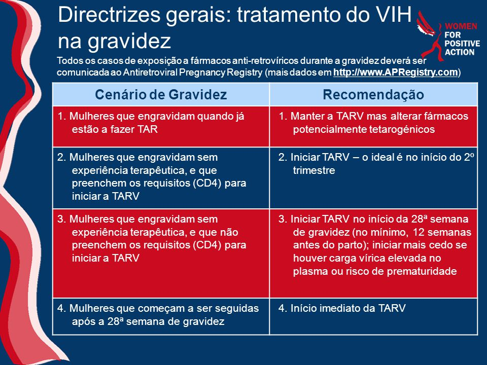 Directrizes gerais: tratamento do VIH na gravidez
