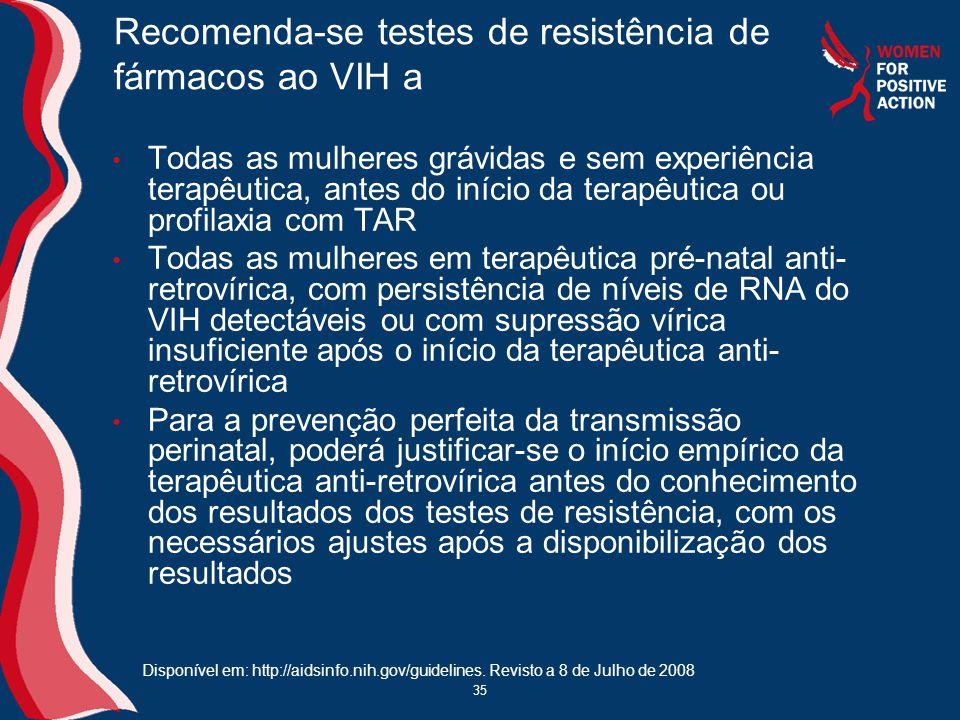 Recomenda-se testes de resistência de fármacos ao VIH a