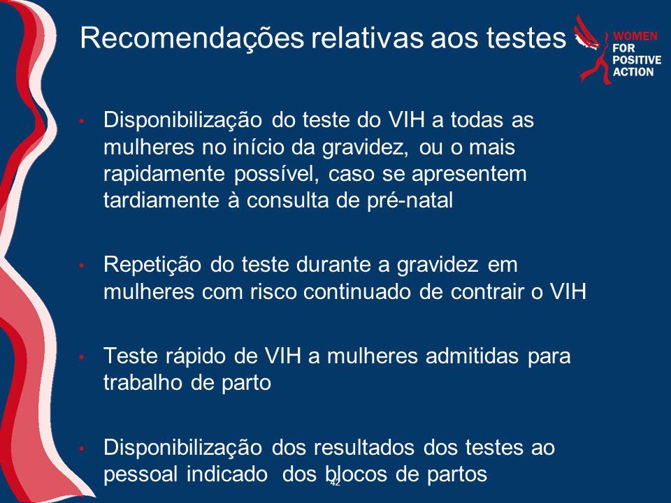 Recomendações relativas aos testes