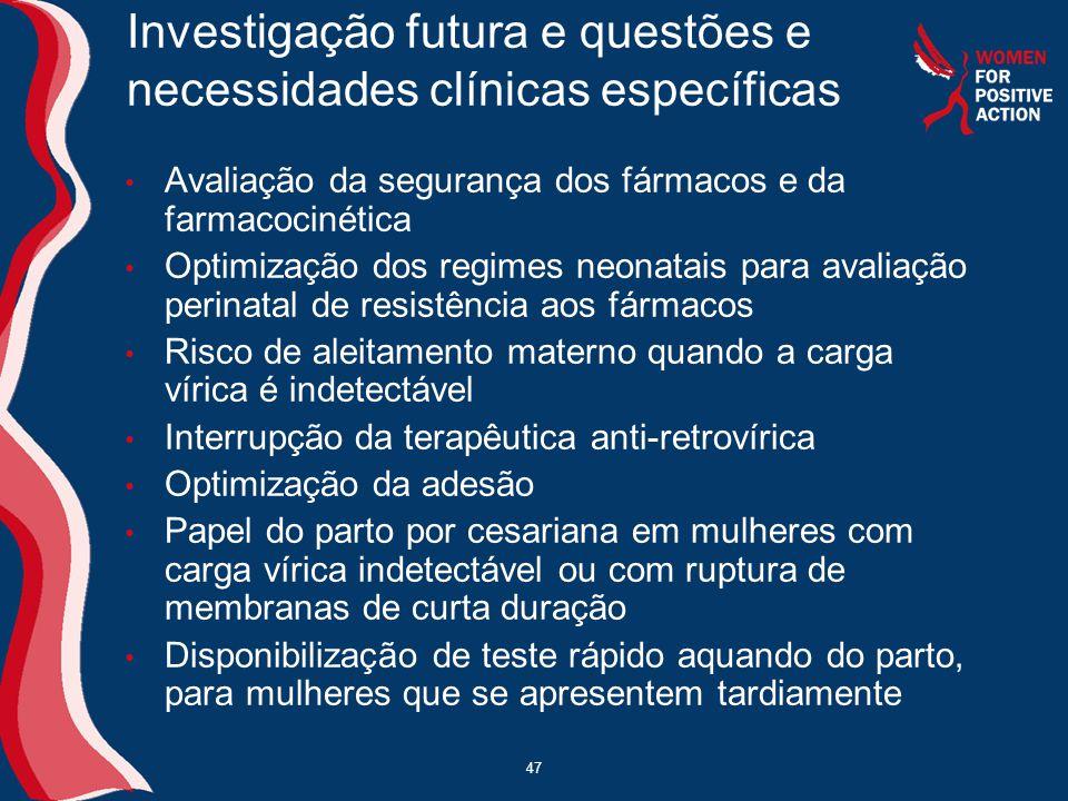 Investigação futura e questões e necessidades clínicas específicas