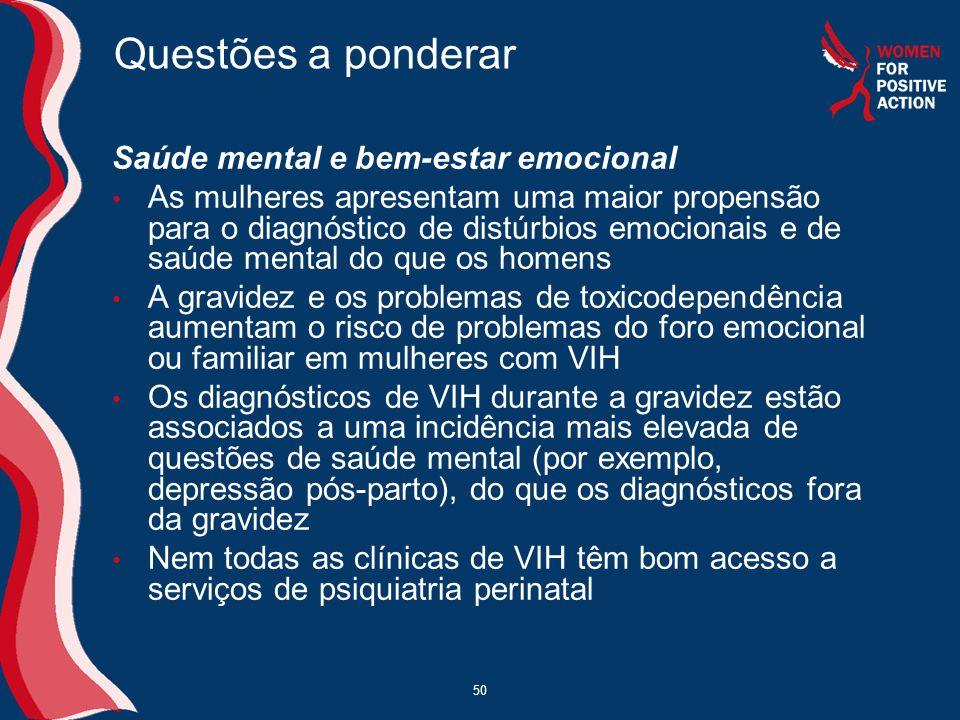 Questões a ponderar Saúde mental e bem-estar emocional