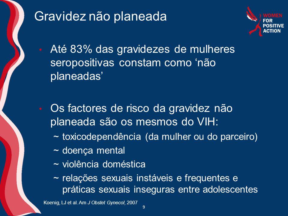 Gravidez não planeada Até 83% das gravidezes de mulheres seropositivas constam como 'não planeadas'
