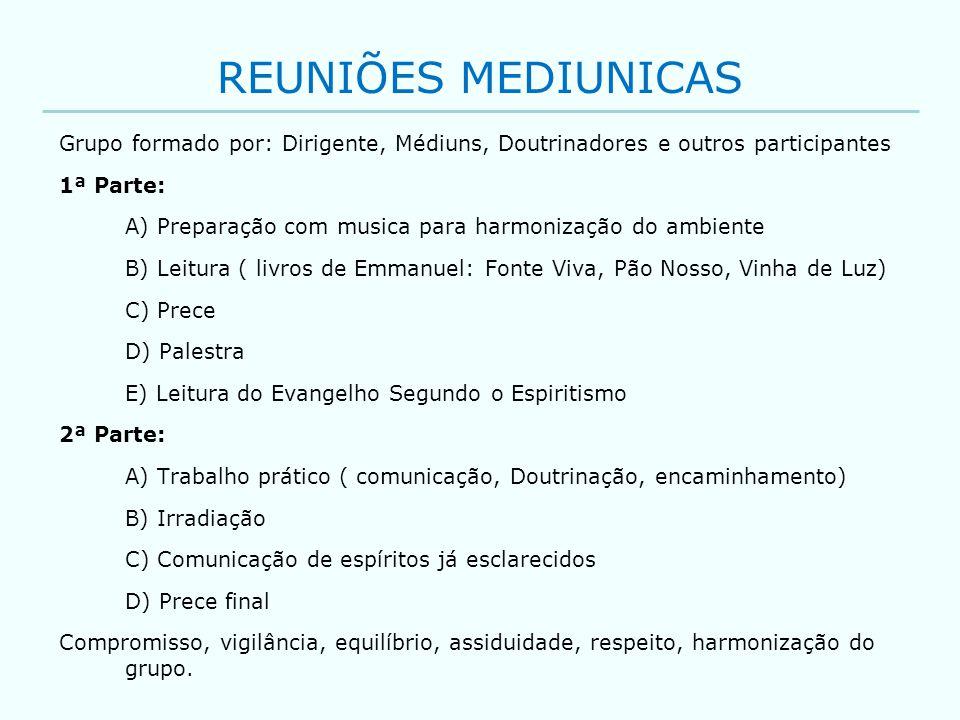 REUNIÕES MEDIUNICAS Grupo formado por: Dirigente, Médiuns, Doutrinadores e outros participantes. 1ª Parte: