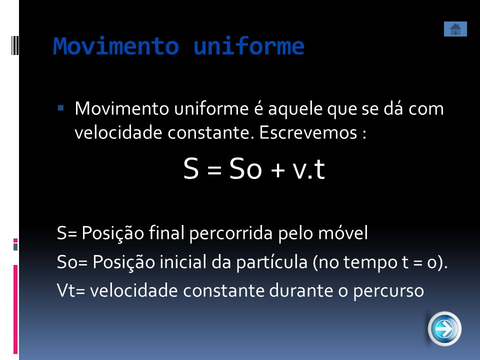 S = So + v.t Movimento uniforme