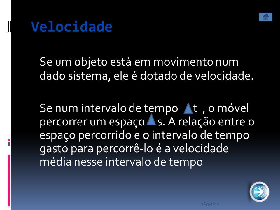 Velocidade Se um objeto está em movimento num dado sistema, ele é dotado de velocidade.