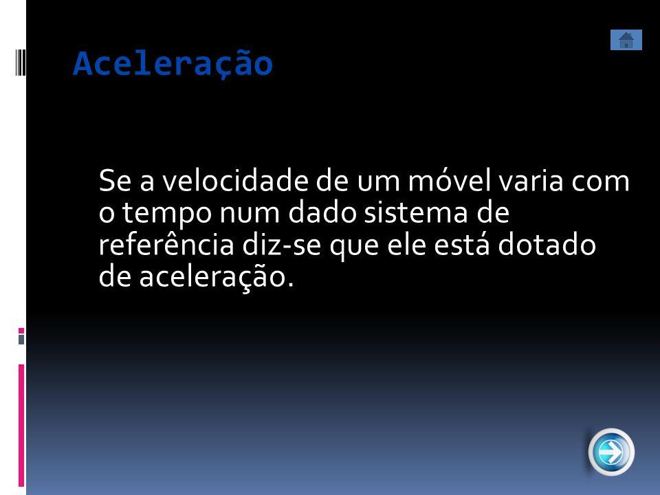 Aceleração Se a velocidade de um móvel varia com o tempo num dado sistema de referência diz-se que ele está dotado de aceleração.