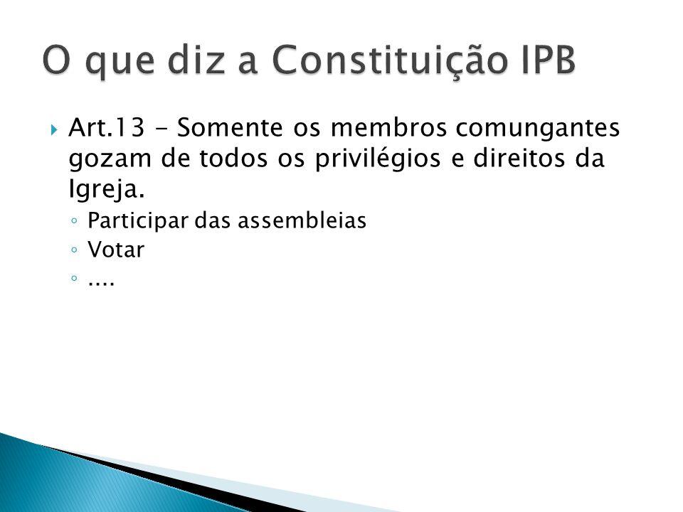 O que diz a Constituição IPB