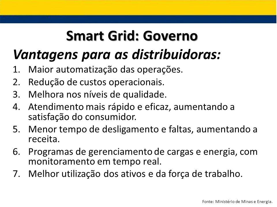 Smart Grid: Governo Vantagens para as distribuidoras: