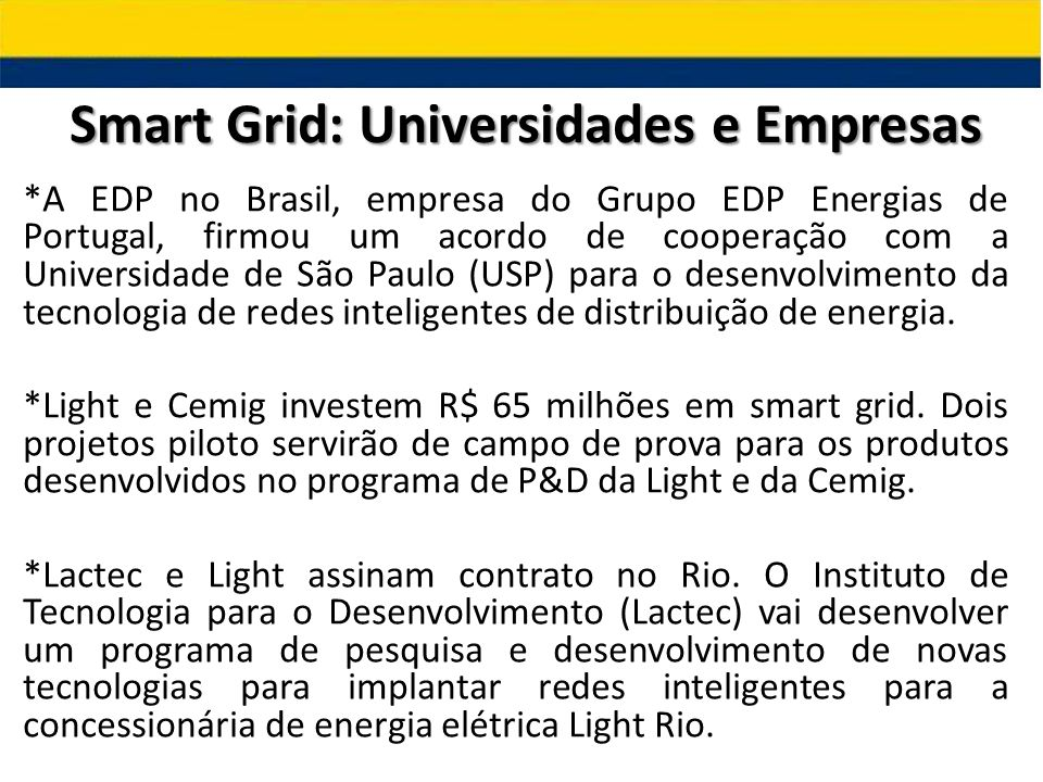 Smart Grid: Universidades e Empresas