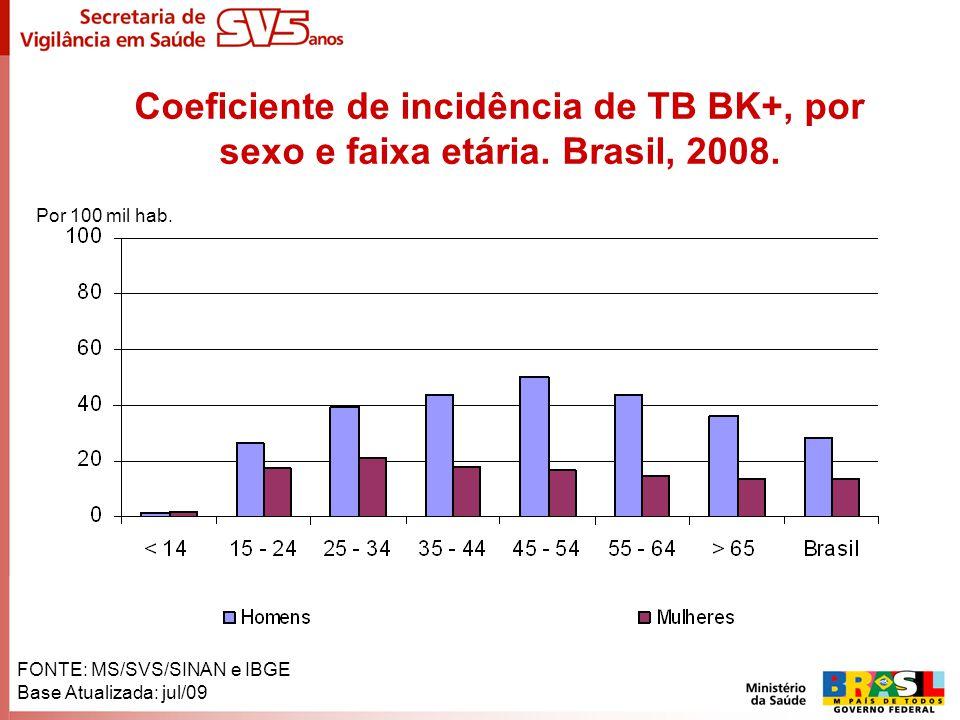 Coeficiente de incidência de TB BK+, por sexo e faixa etária