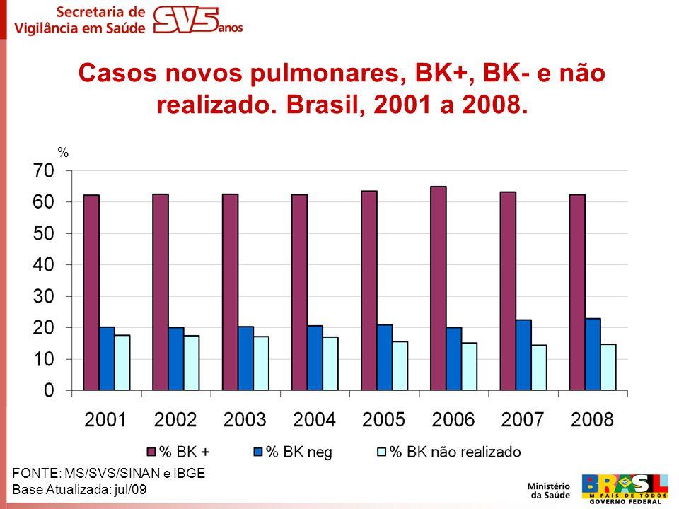 Casos novos pulmonares, BK+, BK- e não realizado. Brasil, 2001 a 2008.
