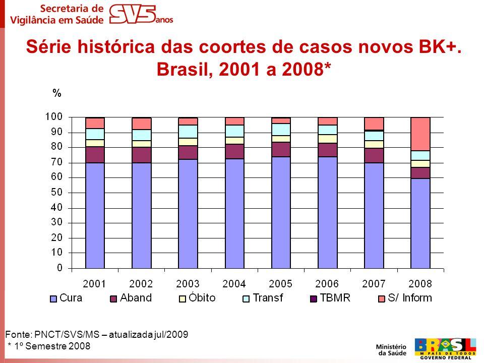 Série histórica das coortes de casos novos BK+. Brasil, 2001 a 2008*