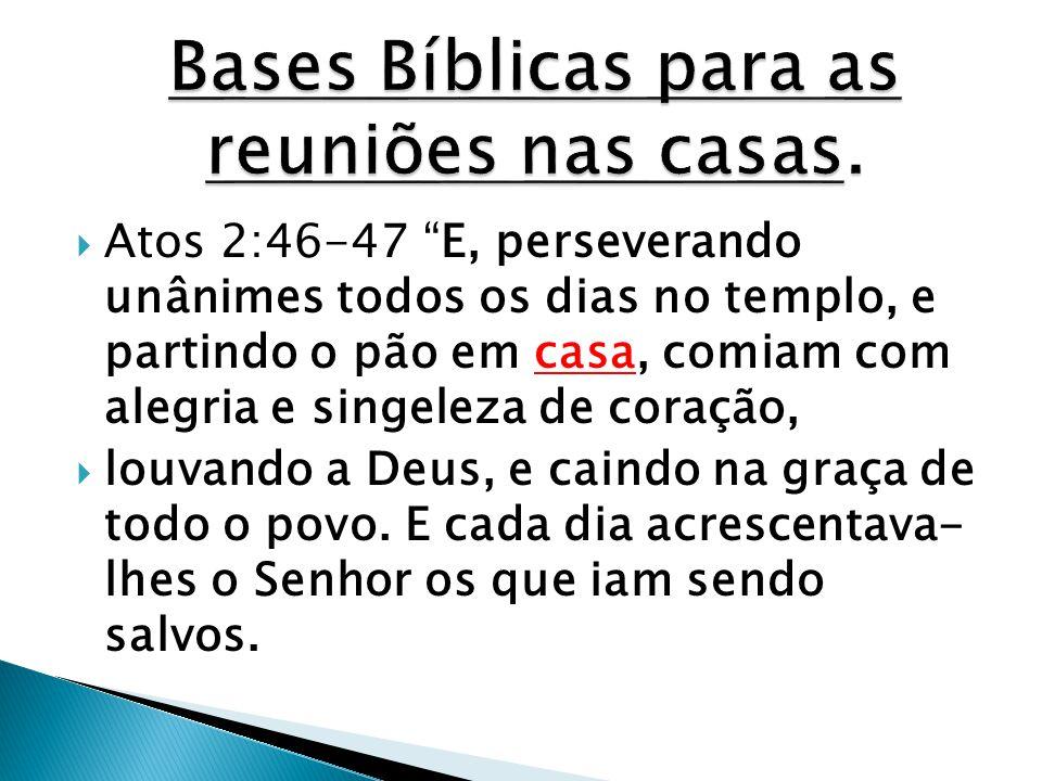 Bases Bíblicas para as reuniões nas casas.