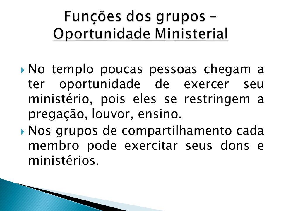 Funções dos grupos – Oportunidade Ministerial