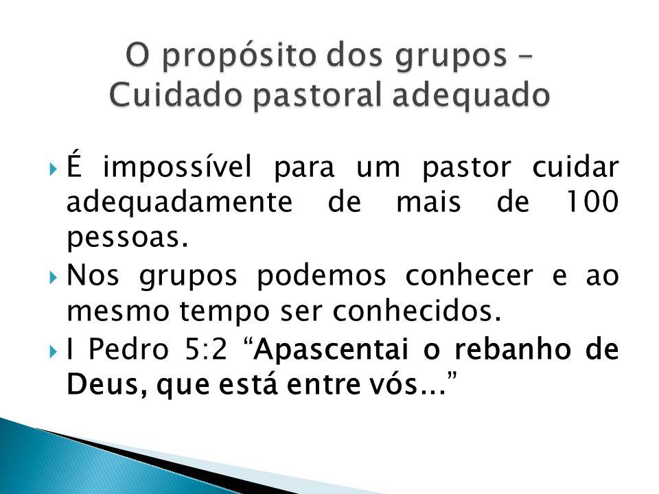O propósito dos grupos – Cuidado pastoral adequado